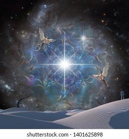 Man in surreal desert. Angels flies in starry sky. 3D rendering