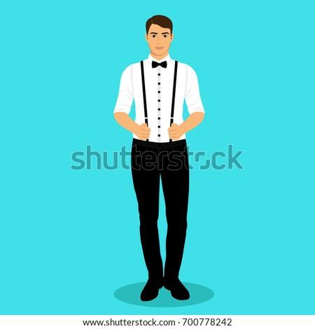 Man Suspenders Groom Clothing Wedding Mens Stock Illustration