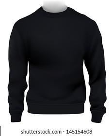 Man sweatshirt, Design template. Black.