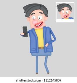 Man taking self portrait selfie photo. 3d illustration