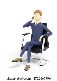 Man is talking on a cell phone sitting in a black armchair on white background. 3D illustration