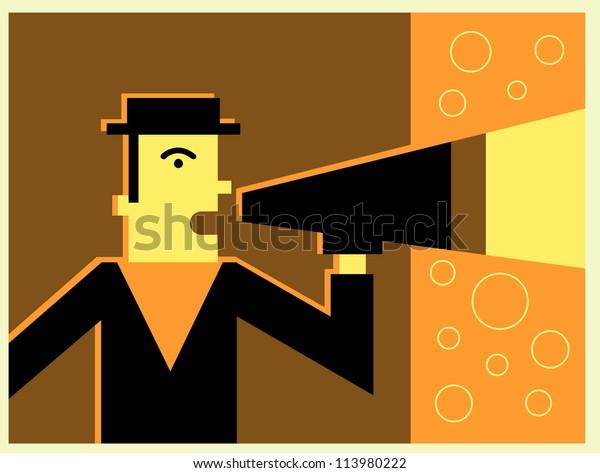 A man talking through a bullhorn