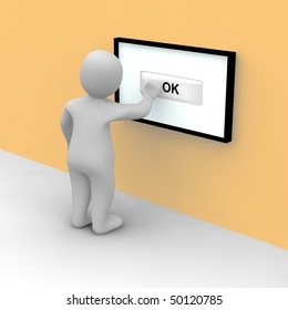 Man taps on ok button on the touch screen. 3d rendered illustration.