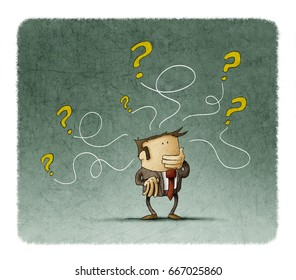 man is thinking while some questions come out of his head