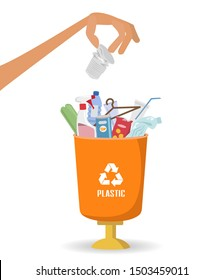 Man throws garbage into a plastic container on white background. Ecology and recycle concept.