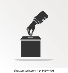 Man throws gold coin in a box for donations. Coin in hand. Donation box. Donate, giving money. illustration, flat style design.