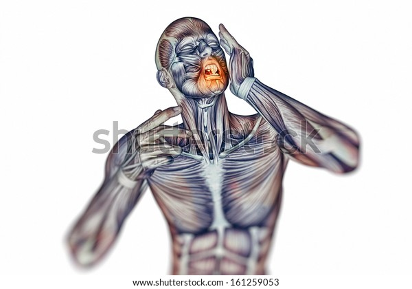 Man with toothache jaw pain