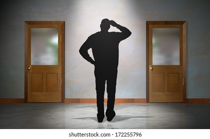 Man Trying to Decide Between Two Doors