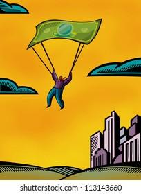 A man using a bank note as a parachute