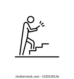 Man using smartphone on the stairs icon business people icon simple line flat illustration.