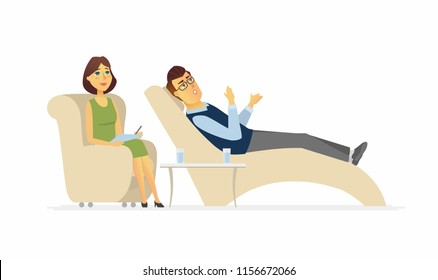A man visiting a psychologist - cartoon people character isolated illustration on white background. An image of a sad person talking to a doctor lying on a couch. Young female counselor making notes