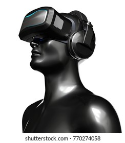 Man in VR Goggles with Headphones on White Background. 3D illustration