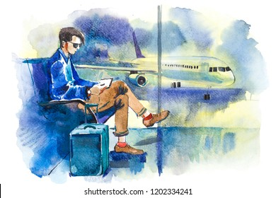 Man waiting boarding on aircraft sitting in airport lounge