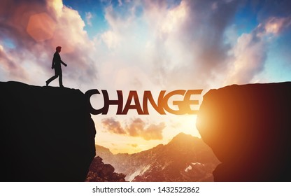 Man walking on the other side of mountain on change letters being a bridge. Concept of hope, positive decision. 3D illustration