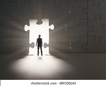Man walking through a break in a jig-saw puzzle wall - 3D illustration