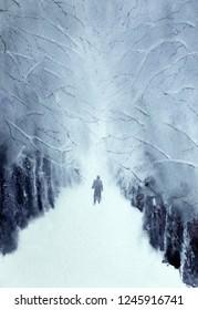 man walking in the winter park