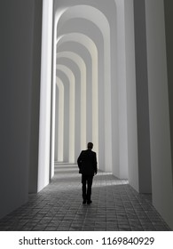 man walks through an arched tunnel, 3d illustration