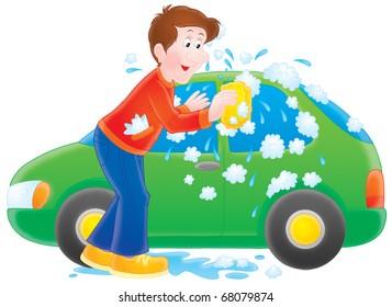 Man washing his car
