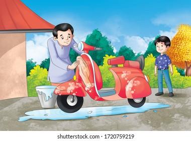 man washing scooter, boy standing