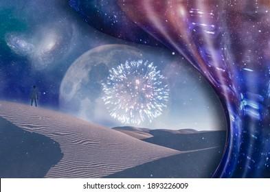 L'homme regarde les feux d'artifice dans le désert. Scène surréaliste. Rendu 3D