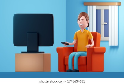 Man watching television. 3d illustration