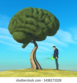 Man watering human brain shaped tree. Education concept. This is a 3d render illustration