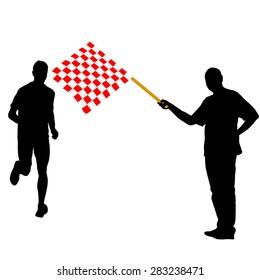 Man waving  checkered flag before the finish runner.  illustration.