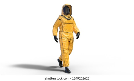 Man wearing biohazard protective outfit, human with gas mask dressed in hazmat suit for toxic and chemicals protection, 3D rendering