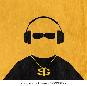 man wearing headphone and gold chain on wood grain texture