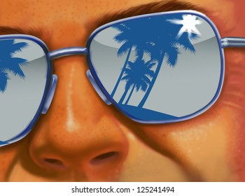 Man wearing reflective sunglasses,showing palm trees on a beach
