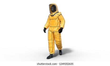 Man wearing yellow protective hazmat suit, human with gas mask dressed in biohazard outfit for chemical and toxic protection, 3D rendering