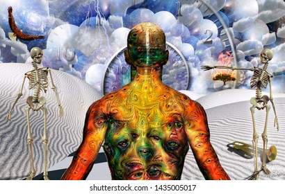 Man with weird eyes on body stands in surreal desert with trumpet and two skeletons. Burning tree and spiral of time. Multilayered space representing infinite dimensions. 3D rendering