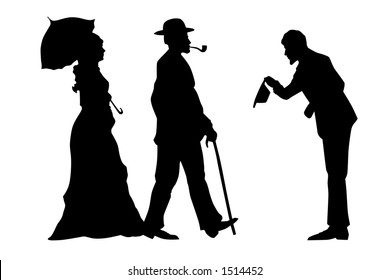 Man welcome lady and gentleman vintage artistic illustration black on white isolated contains paths