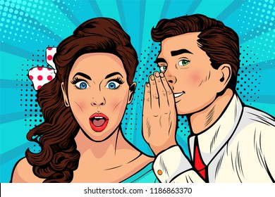 Man whispering gossip or secret to his girlfriend or wife. Colorful illustration in pop art retro comic style.