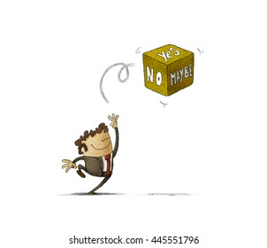 man who doubts between yes, no or maybe, launches a dice in the air to find the answer. illustration white background