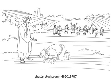 Bible Story Coloring Page for Jesus Heals Ten Lepers | Free Bible ... | 280x390