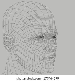 Man wireframe 3d illustration. Head and face human figure abstract outline.