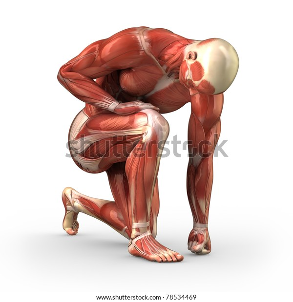 Man without skin kneeling on the ground