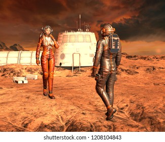 Man and woman astronaut on Planet Mars surface. 3D rendering.