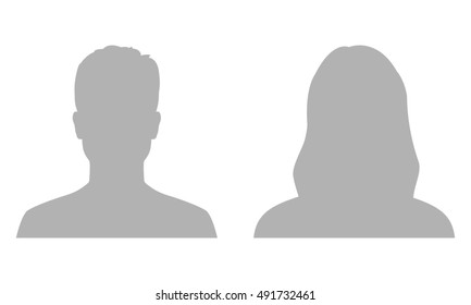 Man and woman avatar profile. Male and Female face silhouette or icon.