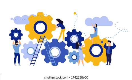 Man and woman business organization with circle gear concept illustration mechanism teamwork. Skill job cooperation coworker person. Group company process development structure workforce banner