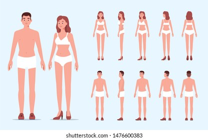 Man and woman character constructor for animation. Front, side and back view. Flat  cartoon style illustration isolated on white background.