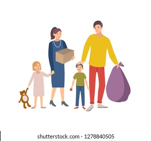 Man, woman and children carrying bag and box with old items and clothes to donate it to charity organization. Voluntary social aid and kindness. Colorful illustration in flat cartoon style