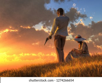 A man and a woman, dressed in light summer clothes, watch the sunset from a grassy hillside. They both look alertly in the direction of the sun, and the man grasps a gun. 3D Rendering