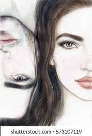 A Man and a Woman. Eyes. Love. Watercolor illuatration