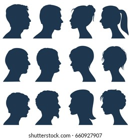 Man and woman face profile silhouettes. Silhouette of human head, illustration of silhouette view side head