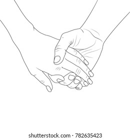 Man and woman holding by hands. Silhouette lines on white background.