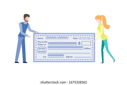Man and woman holding finance ticket, form filling template. People with big empty account, payment card, blue blank, pay and order, dollars raster