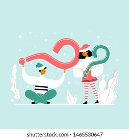 A man and a woman holding questions marks. Christmas concept for web.
