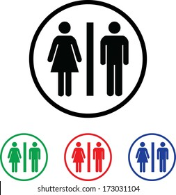 Man and Woman Icon Illustration with Four Color Variations